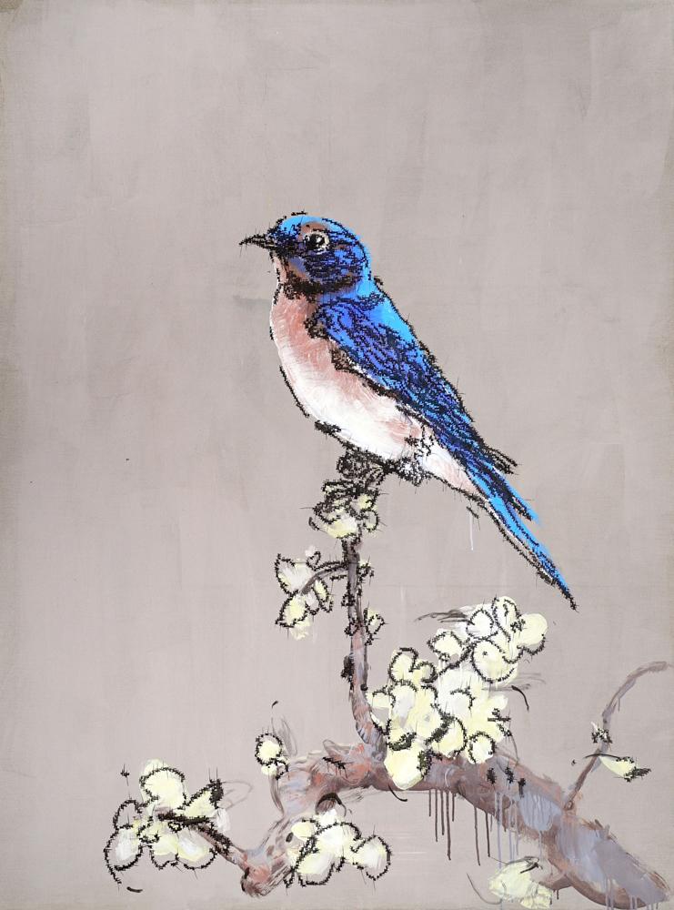 图:叶永青作品《蓝鸟》  大公报记者张帆摄图片