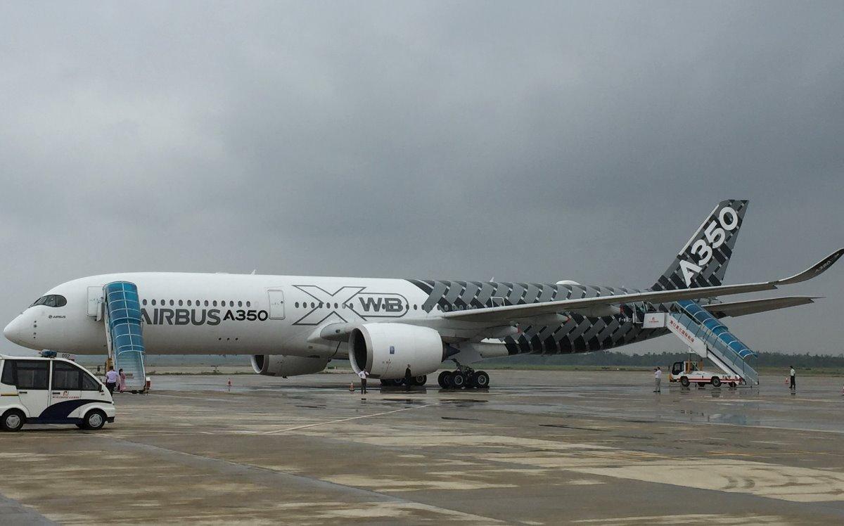 世界最先进远程宽体飞机空客a350访海口