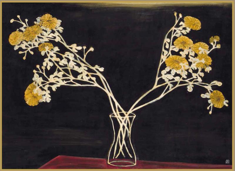 图:常玉一九五○年代作《瓶菊》,创其花卉主题作品拍卖第一高价纪录