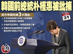 韓國前總統朴槿惠被批捕