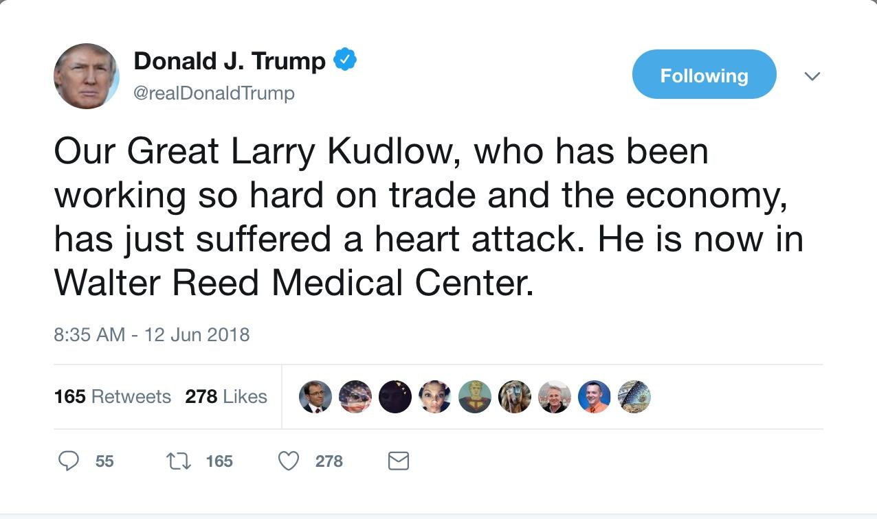 """峰会日""""推""""不断 特朗普:白宫经济顾问心脏病发"""