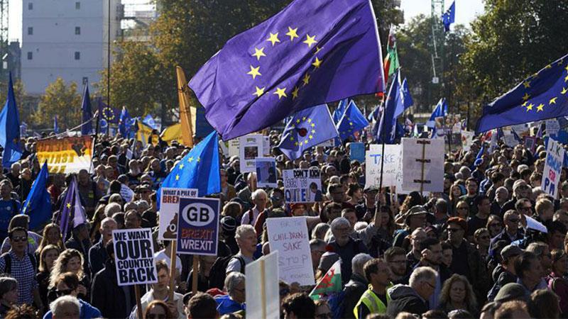 近70万人参加伦敦脱欧示威游行 文翠珊又临逼宫