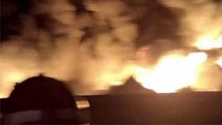 天津一润滑油仓库发生火灾 现场无人员伤亡