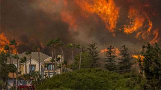 """美国?加州爆发史上最严重山火 天堂镇变""""炼狱"""""""