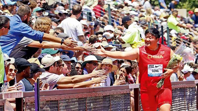 鞏立姣鉆石聯賽美國尤金站鉛球輕松奪冠