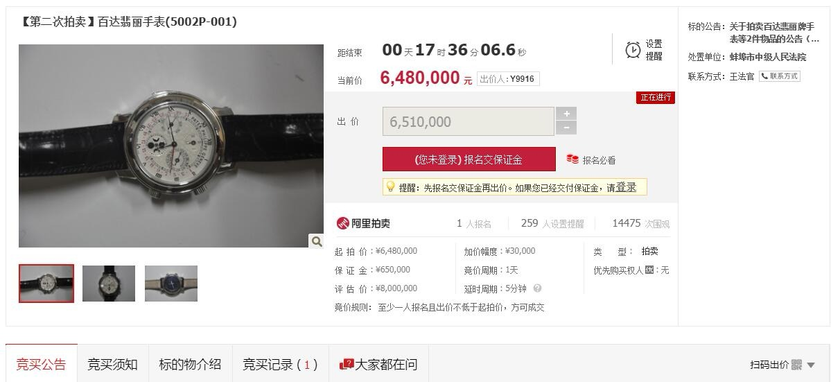 安徽貪官受賄名表648萬再拍賣 引超萬人圍觀