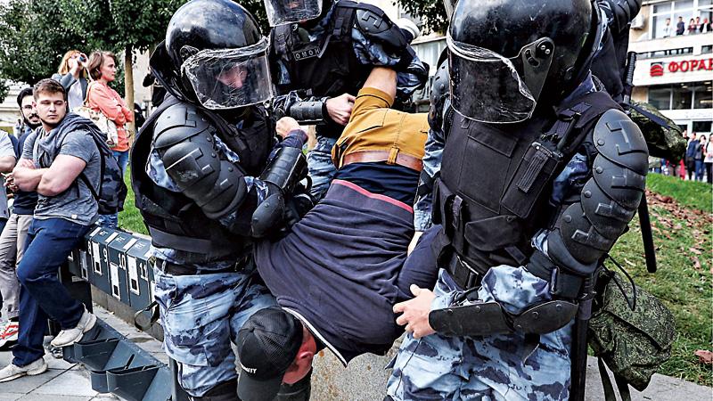 俄1500人非法游行 警方拘600人