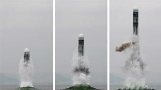 朝鮮成功試射新型潛艇彈道導彈