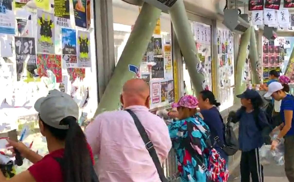 市民自发清理「连侬墙」 斥责暴徒搞乱香港