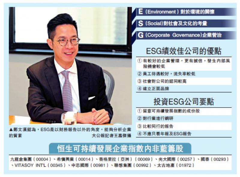?企業前景/散戶欲尋寶 可從ESG著手/大公報記者王嘉杰
