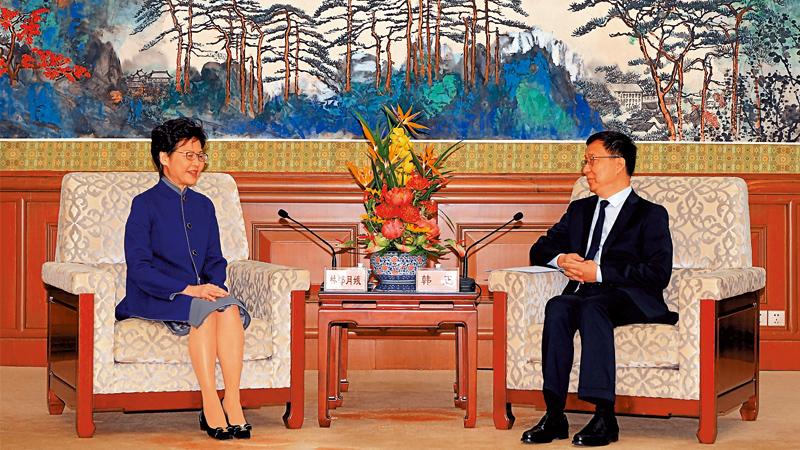 韩正:坚定支持特区政府止暴制乱
