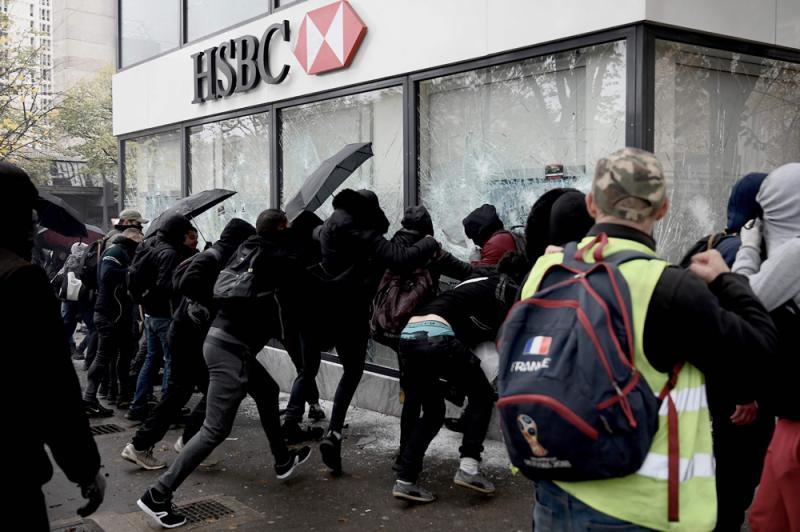 ?巴黎暴徒砸银行喷涂乱港标语