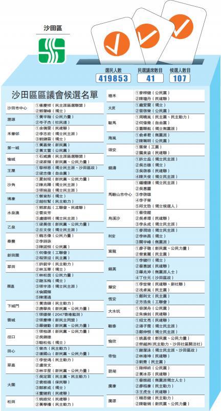 ?沙田区区议会候选名单