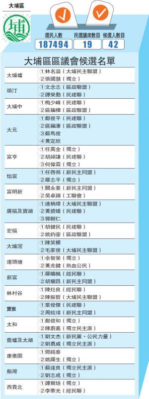 ?大埔区区议会候选名单