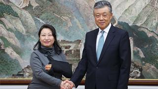 中国驻英大使会见香港特区政府律政司司长郑若骅