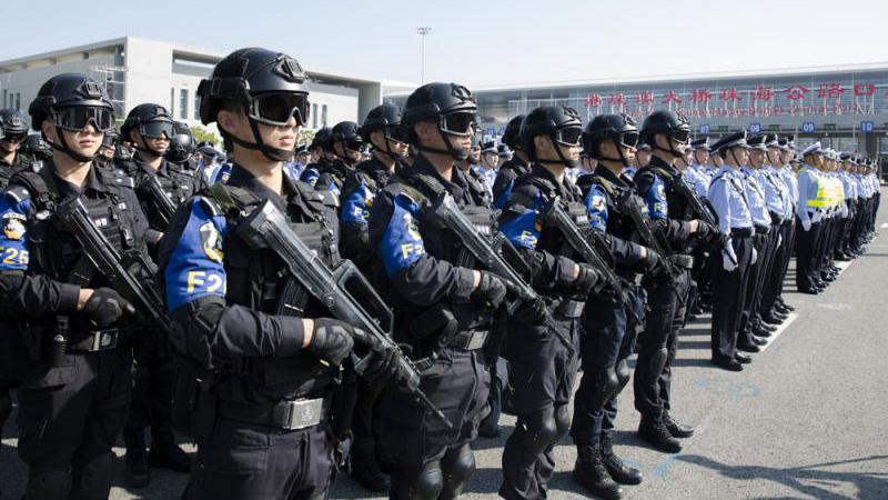 港珠澳桥口岸反恐演练止暴制乱 港澳警方高层出席