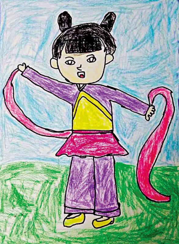 童画天地/作品名称:《中国舞》/作者:汪晨(六岁)