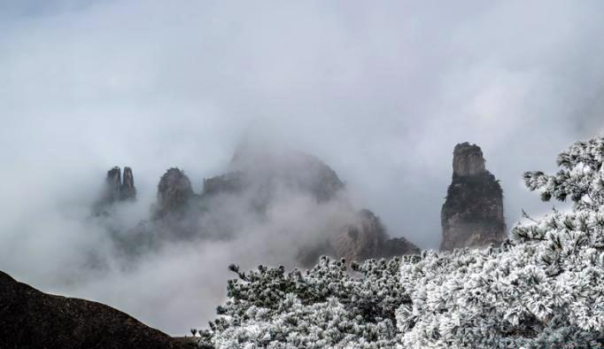 安徽黃山雲海霧凇美景如畫