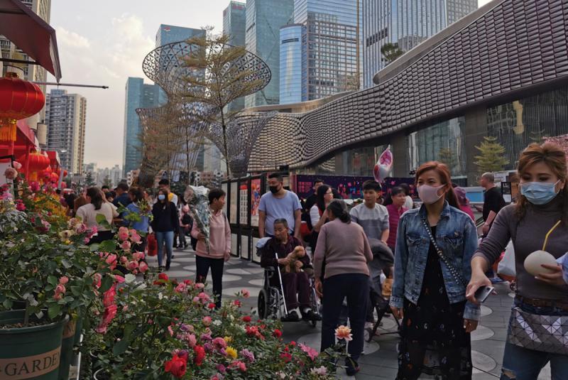 ?深圳民眾戶外賞花度新春