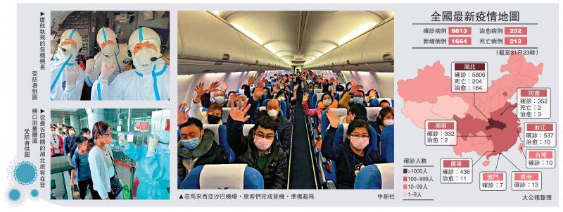 ?中國派專機接回滯海外199鄂同胞/大公報記者 李理北京報道