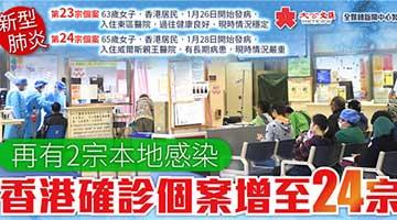 再有2宗本地感染 香港确诊个案增至24宗