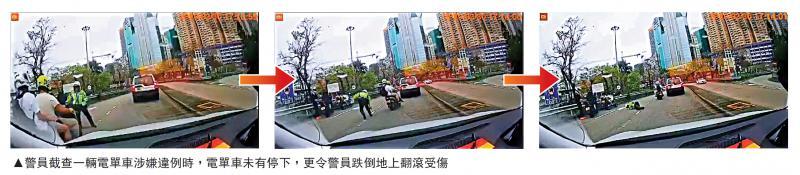 ?违驾电单车撞交警不顾而去