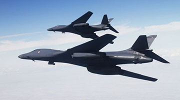 美军战略轰炸机编队掠过台〖湾东北海域 已是本月第3次