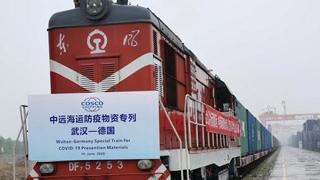武汉首开至德国杜伊斯堡防疫物资专列
