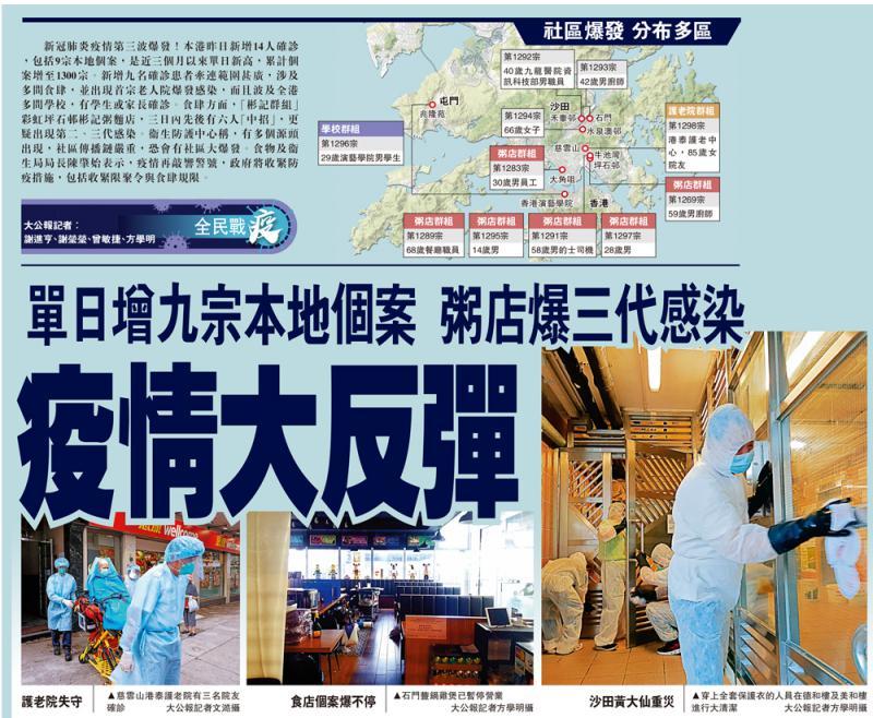 香港疫情大反弹单日新增病例9个 一粥店祖孙三代感染