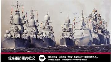 ?俄罗斯海军节阅兵 五大舰队齐出动