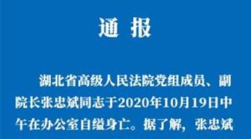 湖北高院副院长张忠斌自缢身亡 排除刑事案件