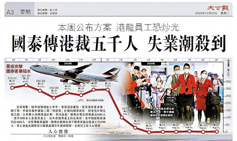 """传国泰今公布裁6000人 弃""""港龙""""品牌"""