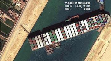 蘇伊士運河被堵接近一周 全球貿易日均虧損100億美元