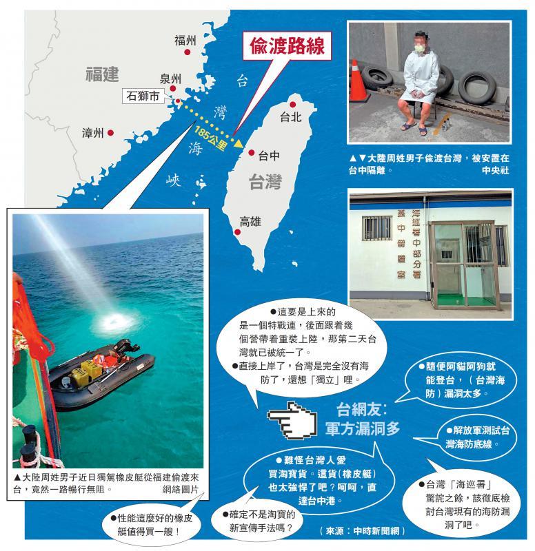 偷渡客闯台湾海峡 台军防线形同虚设