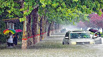 河南千年一遇大暴雨 郑州成泽国