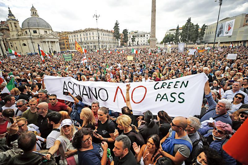 罗马万人示威 难阻疫苗通行证