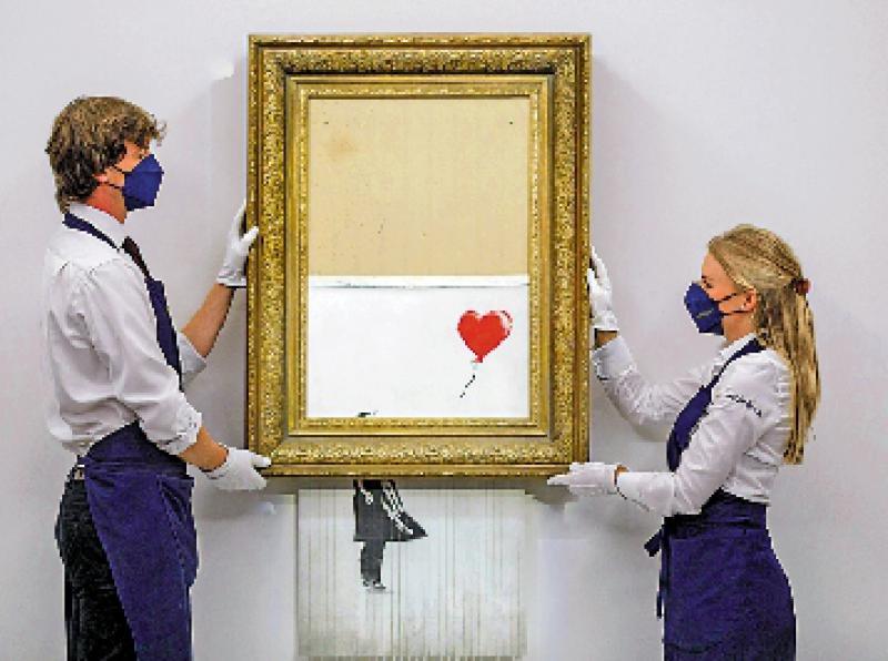 Banksy半毁画作 两亿天价售出