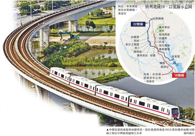 时速160公里 在建最快地铁将穿珠江