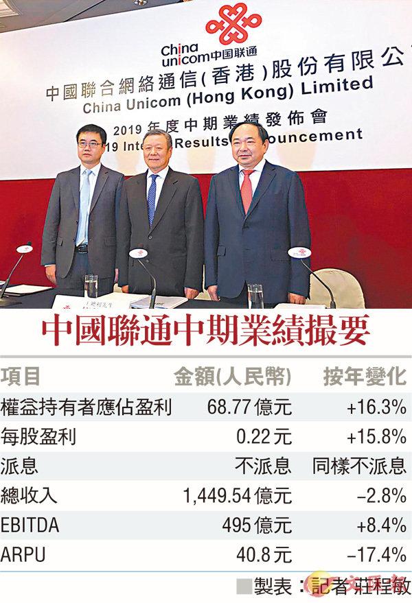 中联通中报利润增加16% 5G下月启用
